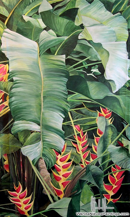 tropical foliage painting wanda nieves paintings